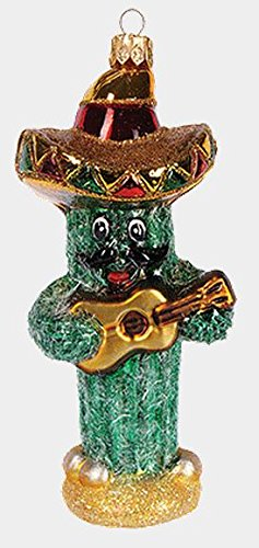 Cactus with Sombrero and Guitar Polish Blown Glass Christmas Ornament Decoration