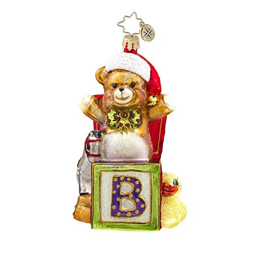 Christopher Radko Beary Excited Baby Themed Glass Ornament – 4.5″H.