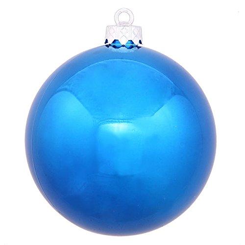 Vickerman 6″ Blue Shiny Ball Ornament 4 per Box
