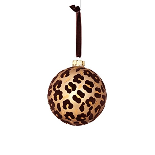 Sage & Co. XAO20174GD Glass Flock Leopard Ornament (4 Pack)