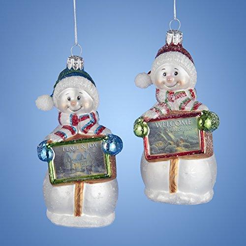 Kurt Adler 4.5″ Thomas Kinkade Glass Snowman Ornament Set OF 2