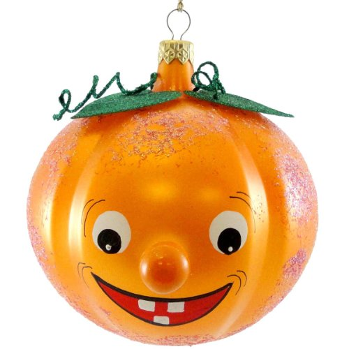 De Carlini PUMPKIN FACE Blown Glass Italian Halloween Ornament V3194