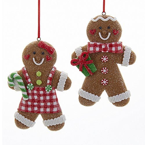 Kurt Adler 4 5″ Gingrbread W/glitter Ornament 2/a