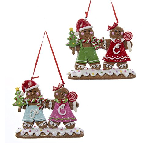 Kurt Adler 4.2″ Claydough Gingerbread Couple Ornaments 2/asstd