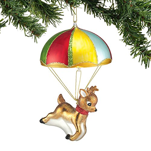 Department 56 Here Comes Santa Claus Parachuting Deer Ornament