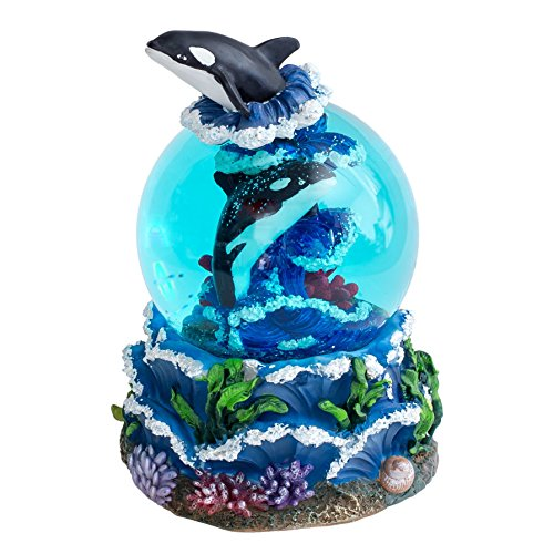 Orca Whale 100MM Resin Stone 3D Musical Water Globe Plays Tune Over the Waves