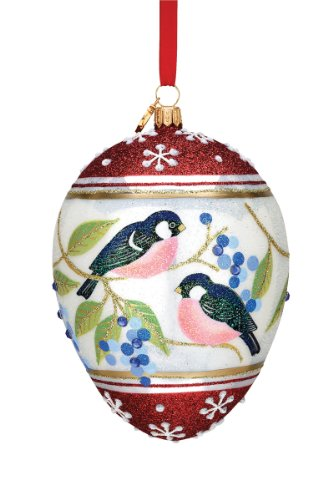 Reed & Barton European Glass Blown Chickadee Egg Ornament, Height 4.5