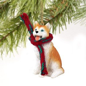Husky Miniature Dog Ornament – Red & White