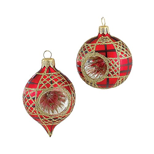 Kurt Adler Glitter Round/Oval Reflector Ornament, 63mm, Red with Gold, Set of 4
