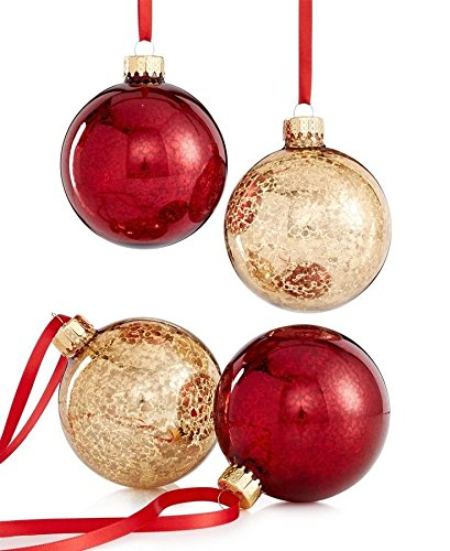 Holiday Lane Set of 4 Red and Gold Ball Ornaments