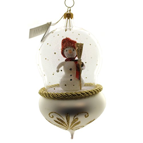 De Carlini SNOWMAN IN GLOBE Glass Ornament Italian V3632