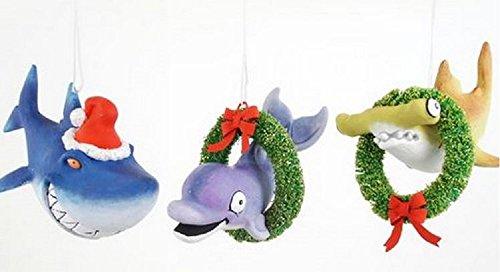 Set of 3 Coastal Tropical Santa Dolphin, Shark & Hammerhead Christmas Ornaments