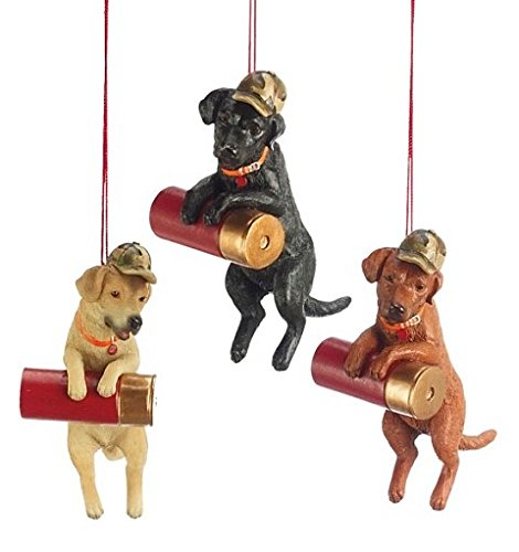Set of 3 Assorted Hunting Dog Labs with Shotgun Shell Ornaments