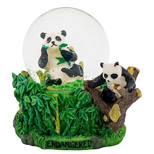 Bamboo Panda 3 x 3 Miniature Resin Stone 45MM Water Globe Table Top Figurine