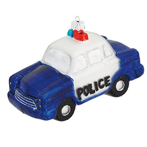 Midwest Glass Blue White Police Officer Car Cop Christmas Ornament