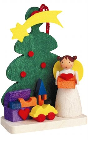 """4171 – Graupner Ornament – Angel with Toys/Tree – 2.5″""""H x 1.75″""""W x 1″""""D"""