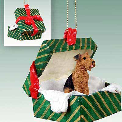 Airedale Terrier Green Gift Box Dog Ornament