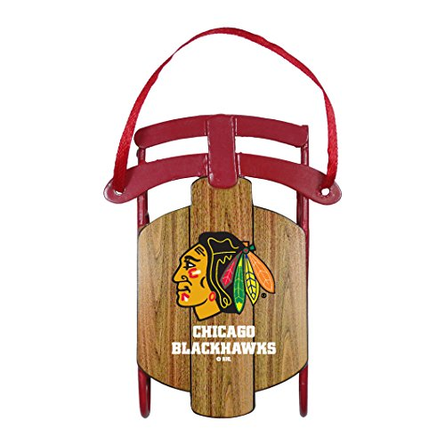 NHL Chicago Blackhawks Metal Sled Ornament, 3.5″ Long, Brown