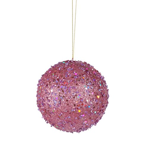 Vickerman Fancy Carnation Pink Holographic Glitter Drenched Christmas Ball Ornament, 3″