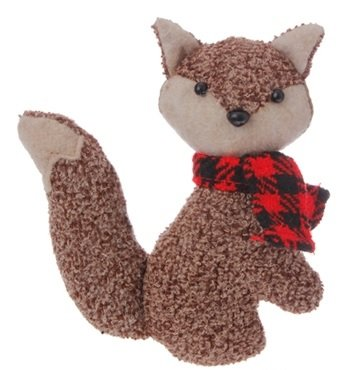 4.5″ Alpine Chic Brown Stuffed Fox with Red and Black Scarf Christmas Ornament
