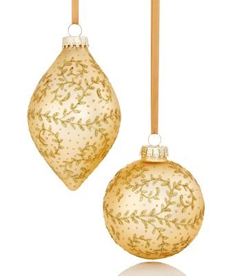 Holiday Lane Set of 2 Matte Gold with Glitter Vine Ornaments