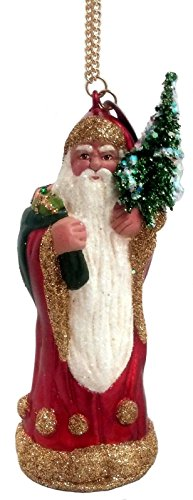 (Ship from USA) Ino Schaller Red Santa with Presents German Paper Mache Christmas Ornament /ITEM#H3NG UE-EW23D74277