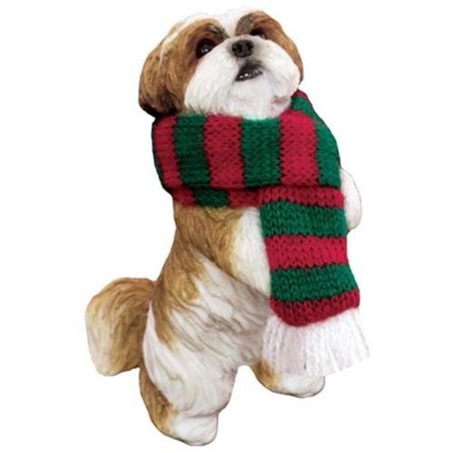 Sandicast Gold and White Shih Tzu with Red and Green Scarf Ornament
