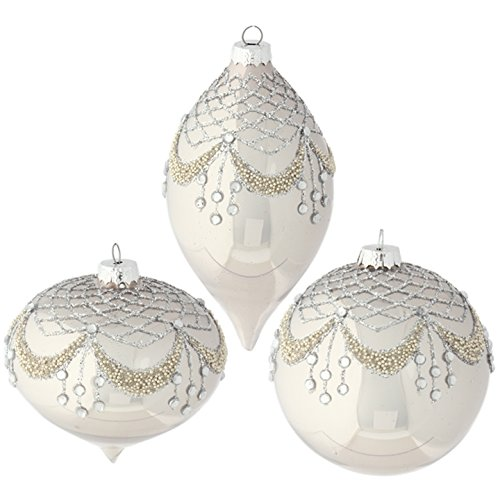 RAZ Imports – 4″ Beaded Rhinestone Gem Christmas Tree Ornaments ...