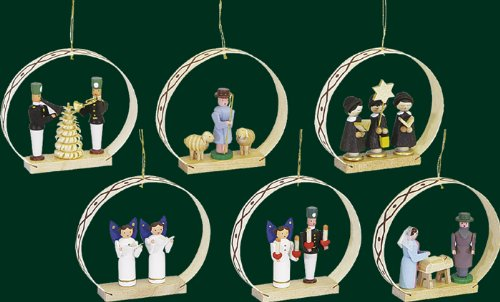 Hanging Christmas Tree Ornaments Seiffener Christmas, 6 Pieces