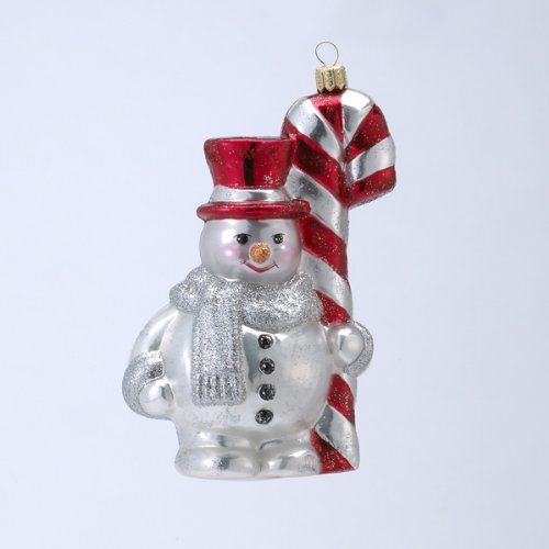 David Strand Designs Glass Frosty Snowman w/ Candy Cane Christmas Ornament 6.25″