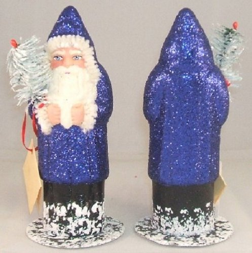 Blue Santa with Glitter Coat and Tree Ino Schaller Paper Mache
