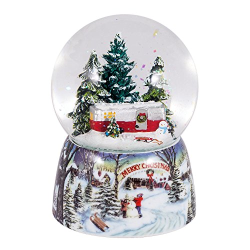 Merry Christmas Trailer in Woods Music Snow Globe Glitterdome – 6″ Tall 100MM – Plays Tune Over the River and Through the Woods
