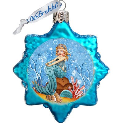 G. Debrekht Mermaid Coastal Glass Ornament