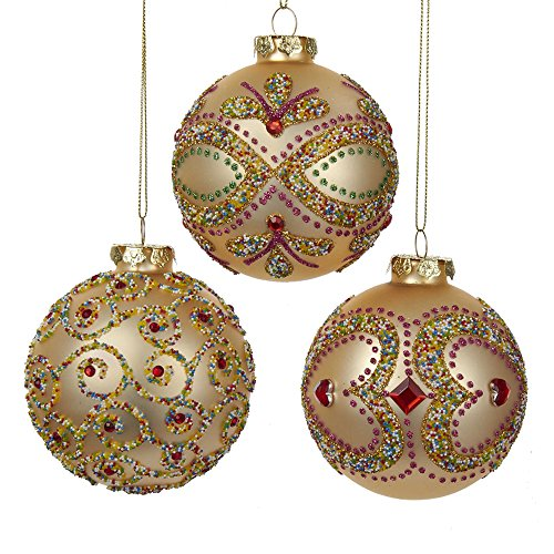 Kurt Adler Glass Diamond Ball Ornament, 80mm, Rose and Gold, Set of 3
