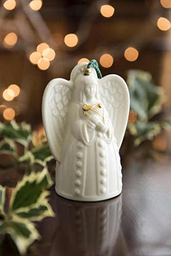 Belleek Pottery Angel with Harp Ornament