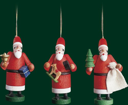 Hanging Christmas Tree Ornament Santa Claus, 3 Pieces, 2.8 Inches