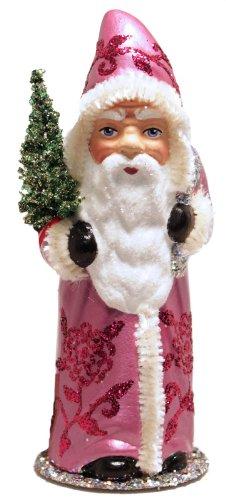 Ino Schaller Santa in Fuschia Coat with Glitter Rose Décor and Tree Paper Mache