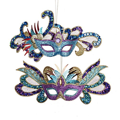 Kurt Adler Glittered/Sequined Carnival Mask Holiday Ornaments – Set of 2