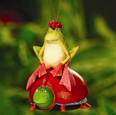 Patience Brewster Frog & Lady Bug Ornament Retired – Krinkles Christmas Décor New 08-30384