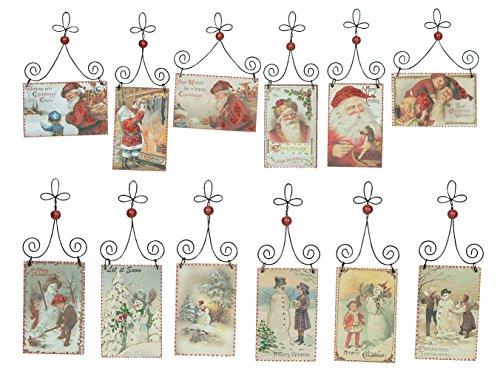 PBK Wood Sign Ornaments – Christmas Santa Clause Theme Postcard 12pc Set #12991