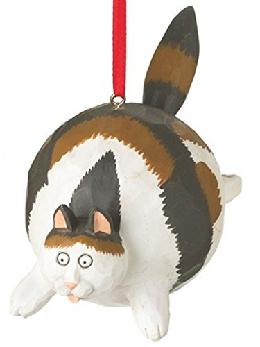 Calico Fat Cat Christmas Tree Ornament Hanging From His Back By Midwest 4.75 inch Made of Polyresin
