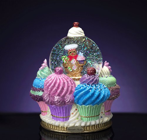RADKO GINGER CAKE DELIGHTS 100mm Musical Snow Globe Christmas Cupcake Gingerbread