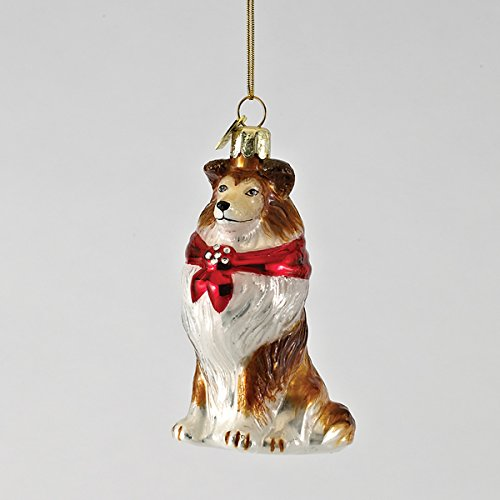 3.5″ Noble Gems Glass Shetland Sheepdog Ornament