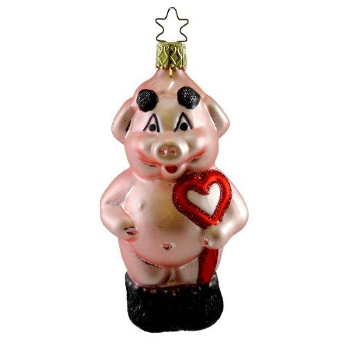 Inge Glas HOG LOVE Blown Glass Ornament Pig Wealth Prosperity 114007