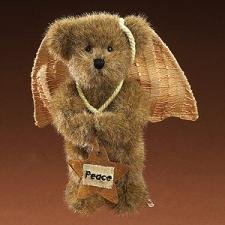 Boyds Plush Peace Mocha Angel Bear Ornament # 904872