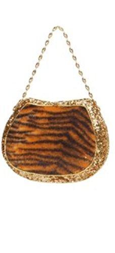 7.5″ Diva Safari Tiger Print Gold Glitter Embellished Evening Bag Purse Ornament