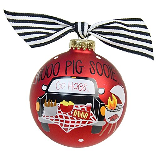 Coton Colors University of Arkansas Tailgate Season Glass Ornament