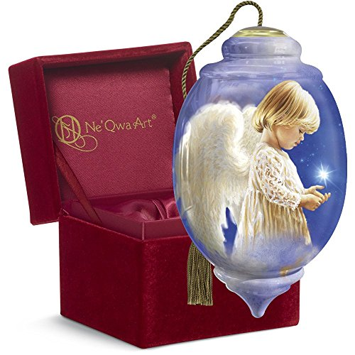 "Ne'Qwa Art, Christmas Gifts, ""Wishing On A Star"" Artist Dona Gelsinger"" Petite Trillion-Shaped Glass Ornament, #7161115"