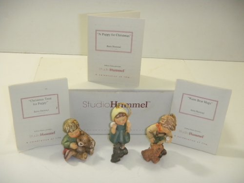 Studio Hummel Set 10 # 96040 Christmas Ornament Collection … Warm Bear Hugs , Christmas Treat For Puppy , A Puppy For Christmas