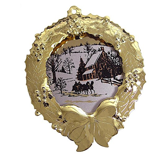 Gloria Duchin Goldtone Collectible Wreath Ornament with Winter Scene